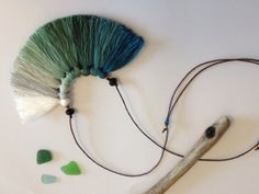 Bird's wing teal and mint  Ombre fiber tassel necklace by NinaPaco, €25.00