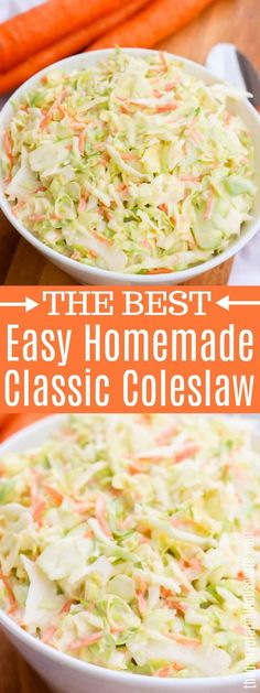 4 simple ingredients and you have the perfect side dish. This Easy Classic Coleslaw is a must for summertime and goes perfect with a grill out. Best Coleslaw Recipe, Homemade Coleslaw, Coleslaw Recipes, Best Southern Coleslaw Recipe, Healthy Coleslaw, Coleslaw Salad, Creamy Coleslaw, Dinner Party Recipes, Dinner Ideas
