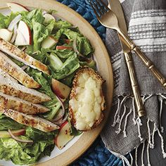 Apple & Grilled Chicken Salad with Cheddar Toasts