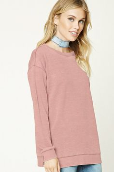 Forever 21 Contemporary - A knit sweatshirt featuring a fleece lining, distressed design, round neckline, long sleeves, ribbed trim, side slits, and a longline silhouette.
