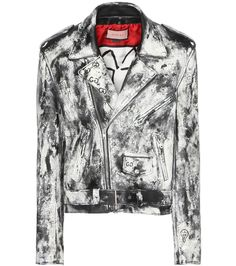 Gucci - GucciGhost painted leather jacket with appliqué - Gucci collaborated with Brooklyn-based artist Trouble Andrew this season to blur the lines between urban and elevated aesthetics. The graffiti-inspired GucciGhost detailing is hand painted onto this leather jacket for the ultimate streetwear approach to the classic silhouette. The back is decorated with embroidered appliqué for a mesmerising finish. seen @ www.mytheresa.com
