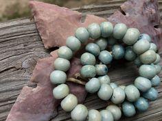 8mm Round Bone Beads, Handcrafted Frost Sky Blue Cream, Native Boho Tribal…