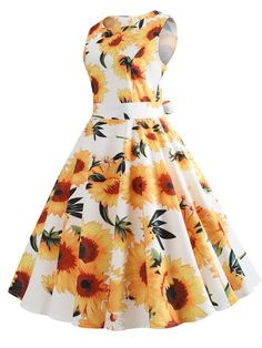 Retro Sunflower Print Fit and Flare Dress Vestidos Vintage, Vintage Dresses, Jw Moda, Casual Dresses, Short Dresses, Sleeveless Dresses, Midi Dresses, Women's Casual, Dresses Uk