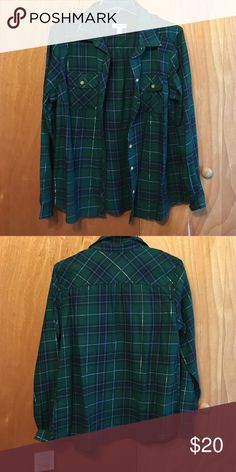 Flannel Blue and green flannel with thin line of sparkly silver croft & barrow Tops Button Down Shirts