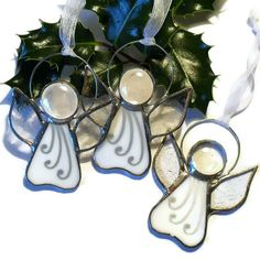 White Angel Christmas Tree Decoration, White Stained Glass Angel £5.00