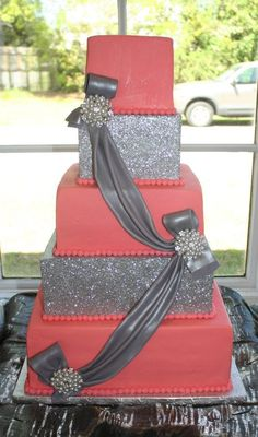 A bling pink ribbon cake I would add more to it but this cake is gorgeous