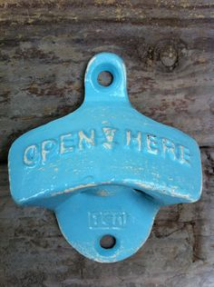Light Blue Bottle Opener In Sea Bliss Bleu Blue / Retro Aqua / Metal Home Decor / Patio Deck / Bright Cast Iron / Aqua. $8.50, via Etsy.