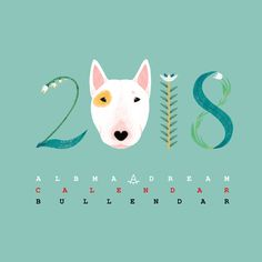 Bull Terrier illustration by Anna Gavryliuk for calendar 2018