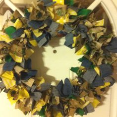 John Deere, Yellow, Denim Jean rag cut wreath. Love this even more that it's Alec's jeans and Jamie's jeans I rag'd in to it.