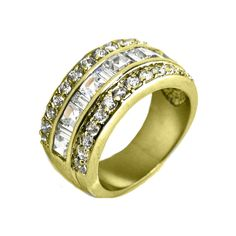 Gold triple layered CZ band. Sizes 6-9. Item #: r2042