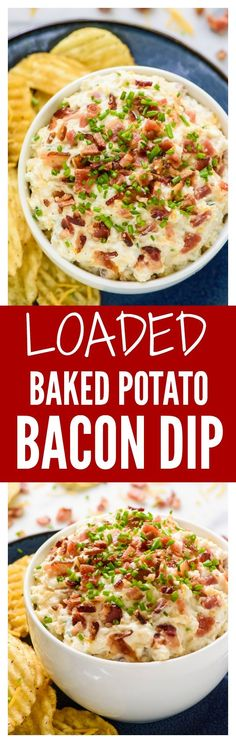 Eat Stop Eat - No one will be able to stop eating this Loaded Baked Potato Dip with Bacon Sour Cream and All the Fixins - In Just One Day This Simple Strategy Frees You From Complicated Diet Rules - And Eliminates Rebound Weight Gain Baked Potato Dip, Loaded Baked Potatoes, Appetizer Dips, Appetizer Recipes, Appetizer Party, Yummy Appetizers, Yummy Snacks, Dinner Recipes, Yummy Food