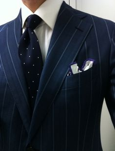 thestudenttailor: A widely placed stripe adds stature - giving the illusion of a broader chest and shoulder. Matched with an understated tie, crisp white shirt, its the perfectly appropriate business power suit. Gentleman Mode, Gentleman Style, Sharp Dressed Man, Well Dressed Men, Mens Attire, Mens Suits, Suit Fashion, Mens Fashion, La Mode Masculine