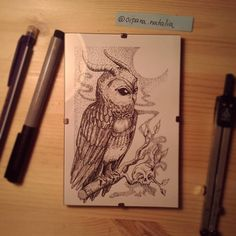 Horned owl- finish 3 hours of drawning, with centropen a PITT pens. I have head pain of thinking by this meditation process of pointillism and lines. Little bit old good ocuult and grind is in this picture. Fresh cut, framed and ready for you  instagram @cipananatalia tumblr: www.tumblr.com/cipananatalia FB: www.facebook.com/cipananatalia  buy more my art at: www.society6.com/cipananatalia