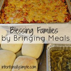 Bringing meals to families after the birth of a baby, during times of sickness or loss is such a simple way to really bless a family and make them feel loved and cared for. After the birth of our t… Make Ahead Meals, No Cook Meals, Easy Meals, Food To Go, Food For A Crowd, Food For Sick People, Recipes For Sick People, Family Meals, Kids Meals