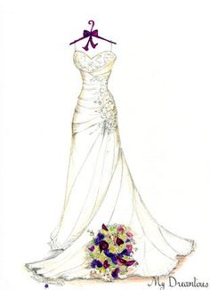 Last Minute Valentine's Day Gift For Her Archives - MyDreamlines Wedding Dress Sketches, Dress Design Sketches, Fashion Design Sketches, Dress Painting, Dress Drawing, Custom Wedding Dress, Wedding Dresses, Wedding Painting, Clothing Sketches