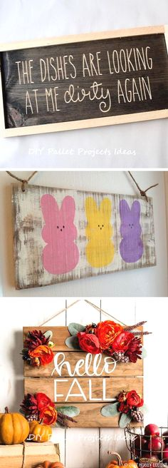 Hey Look What I made Pink Wooden Wall Sign with Hanging Clips #PS058B