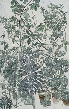"thunderstruck9: ""Sam Szafran (French, b. 1934), Les Philodendrons. Watercolour on paper, 74 x 47 cm. """