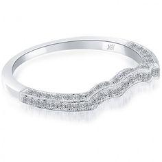 0.30 Carat Custom Curve Matching Diamond Wedding Band Ring 18K White Gold - Matching Bands - Wedding Bands