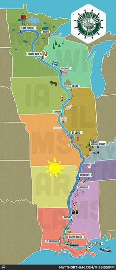 Mississippi Great River Road trip map by Matt Northam, via Flickr