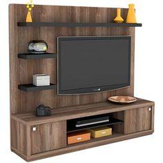 Foto 1 - Rack com Painel Wood Tamburato Terrano/Preto - Orb Tv Cabinet Design, Tv Wall Design, Bed Design, Wall Unit Designs, Living Room Tv Unit Designs, Tv Unit Decor, Tv Wall Decor, Tv Unit Furniture, Home Decor Furniture
