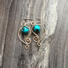 Sterling silver earrings wire earrings with african turquoise