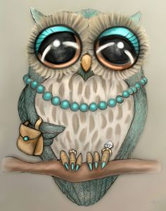 Elegant Owl by vian (Roxie) hot pink nails eyes and purse instead of blue