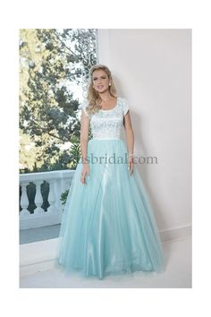 Stunning lace and Tulle Modest Prom dress with scoop neck .. Visit us to Order!