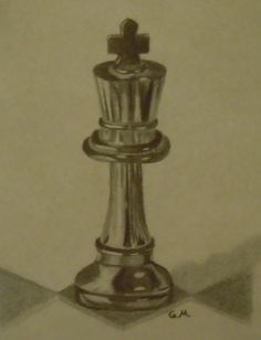 Still life pencil drawing of a king chess piece. Made using a mechanical pencil, eraser pen, regular eraser, kneaded eraser and blending stumps. Freehand, based on a photograph.