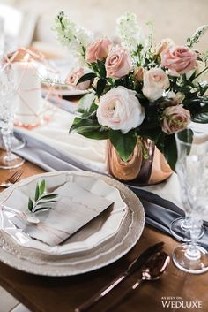 Tablescape | A COPPER AND BLUSH STYLED SHOOT WITH MODERN ACCENTS | WedLuxe