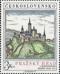 Sello: F.Hoogenberghe: Pražský hrad 1572 (Checoslovaquia) (Prague Castle) Mi:CS 2343,Sn:CS 2081,Yt:CS 2179,AFA:CS 2187,POF:CS 2219