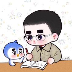 Kyungsoo, Baekhyun Fanart, Kaisoo, Exo Ot12, Kpop Fanart, Exo Anime, Anime Chibi, Exo Cartoon, Cartoon Art