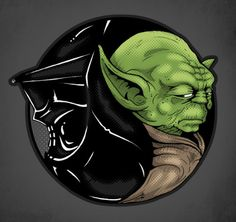 Darth Vader & Yoda, the Yin & Yang of the Universe, Star Wars Illustration. Yin Yang, Star Wars Tattoo, Love Stars, Cultura Pop, Star Wars Art, Pop Culture, Sci Fi, Geek Stuff, Fan Art