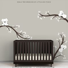 Baby Nursery Wall Decal White and Dark Brown - Koala Tree Branches by LittleLion Studio on Etsy, 55,83 €