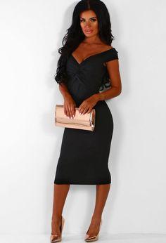 90063bcf66c7e Hit The Lights Black Knot Front Bardot Midi Dress   Pink Boutique Black  Bardot Dress,. Pink Boutique UK