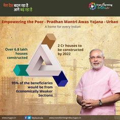 Indian Government empowering the poor by ensuring home for all. Two crore houses to be built by 2022 under the Pradhan Mantri Awas Yojana. #TransformingIndia #harsimratkaurbadal #akalidal #foodprocessing