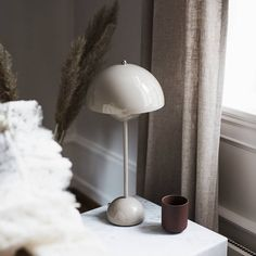 Flowerpot by Verner Panton in Grey Beige in a beautiful setting from . Wood And Metal Table, Metal Table Lamps, Retro Lampe, Flower Power, Psychedelic Colors, Decorative Panels, Grey And Beige, Kugel, Danish Design