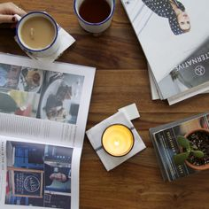 Some weekend reading, featuring #ConsciousMag and our favorite Canvas mugs and Lit & Co candle!