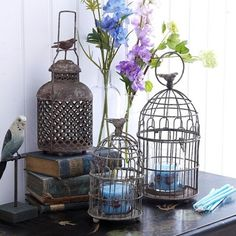 Bird cage and candles. The Caged Bird Sings, Little Corner, Hurricane Lamps, Bird Cages, Beautiful Birds, Bird Houses, Decoration, Painted Furniture, Sweet Home