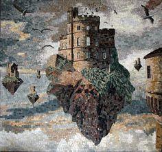 Castle On A Rock Scene Mosaic