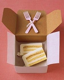 wedding cake to go at the end of the night for the newlyweds - in case they didn't get a peice during the reception, but also good as a midnight snack with champagne on the wedding night! PLEASE SOMEONE REMEMBER THIS! Wedding cake is my favorite :}