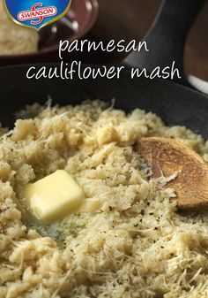 Here's a tasty alternative to mashed potatoes that's easy to prepare. This Parmesan Cauliflower Mash will give you a lot of flavor without all of the fuss. Add chicken broth for even more delicious, creamy flavor. Skillet Recipes, Thm Recipes, Entree Recipes, Dinner Recipes, Healthy Recipes, Parmesan Cauliflower, Cauliflower Dishes, Cauliflower Mash, Easy Delicious Recipes