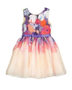 Ombre+Floral+Chiffon+A-Line+Dress,+Multicolor,+Size+7-16+by+Zoe+at+Neiman+Marcus.