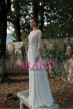 2015 Bateau vestidos de novia de una línea de gasa con apliques Sash Y barrer de tren