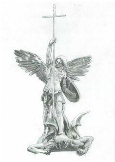 best ideas about Saint Michael Tatoo Art, Body Art Tattoos, Tattoo Drawings, Sleeve Tattoos, Tatoos, Michael Angel, St Michael, St Micheal Tattoo, Saint Michael Tattoo