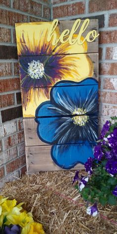 Acrylic Painting Flowers, Wood Painting Art, Pallet Painting, Wood Pallet Art, Wooden Art, Garden Fence Art, Wooden Welcome Signs, Painted Wood Signs, Fences
