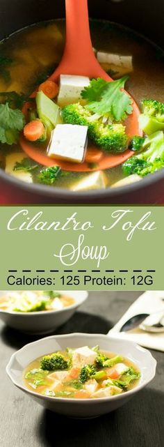 Selecting The Suitable Cheeses To Go Together With Your Oregon Wine Cilantro Tofu Soup - Vegan And Gluten Free Stew With Asian Flavors Is My Ultimate Comfort Food For The Winters Tofu Recipes, Healthy Soup Recipes, Seafood Recipes, Asian Recipes, Vegetarian Recipes, Cooking Recipes, Fast Recipes, Recipes Dinner, Drink Recipes