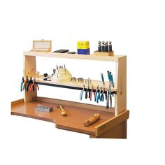 Eurotool Shelfmate Bench Top Tool Holder, Keeps Everything Within Hand's Reach Tool Workbench, Workbench Organization, Storage Organization, Fly Tying Desk, Think Small, Making Tools, Small Changes, Diy Desk, Woodworking Bench