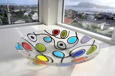 MIKKALINA-GLAS Fused Glass Plates, Fused Glass Art, Glass Dishes, Mosaic Glass, Stained Glass, Glass Bowls, Glass Fusing Projects, Kiln Formed Glass, Deco Originale