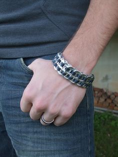 Men's FistiCuff Tab Top Cuff Bracelet Black Free Shipping by BittersweetDesign on Etsy