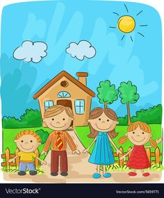 Happy family against a landscape and the house Vector Image House Drawing For Kids, Drawing Lessons For Kids, Art Drawings For Kids, Easy Drawings, Family Picture Drawing, Family Picture Cartoon, Cartoon Pics, Cartoon Drawings, Kindergarten Drawing